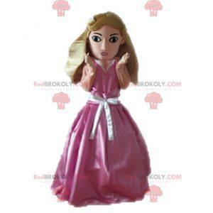 Mascotte principessa bionda vestita con un abito rosa -