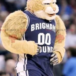 Beige tiger maskot i blå sportsklær - Redbrokoly.com