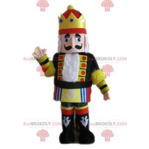 Königsmaskottchen im gelb-schwarzen und roten Outfit -