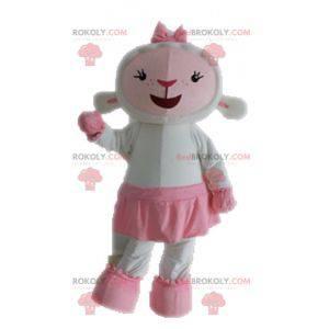 Mascote de ovelha branca e rosa. Mascote de cordeiro -
