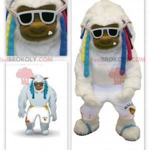 Velký bílý maskot yeti s barevnými dredy - Redbrokoly.com
