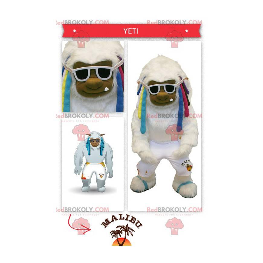 Big white yeti mascot with colorful dreadlocks - Redbrokoly.com