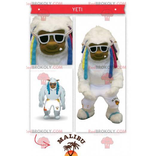 Stor hvit yeti-maskot med fargerike dreadlocks - Redbrokoly.com