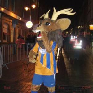 Brązowa maskotka jelenia łosia karibu w odzieży sportowej -