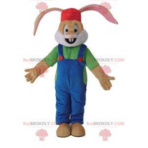 Hnědý králík maskot oblečený v montérkách - Redbrokoly.com