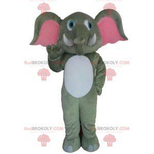 Obří bílý a růžový šedý slon maskot - Redbrokoly.com
