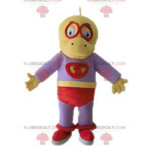 Yellow and purple dinosaur mascot dressed as a superhero -