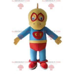 Yellow and blue dinosaur mascot dressed as a superhero -