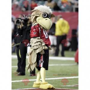 Beige vulture bird mascot in sportswear - Redbrokoly.com