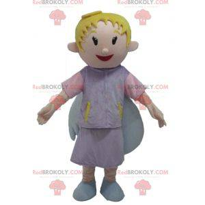 Smiling blond angel mascot with pretty wings - Redbrokoly.com