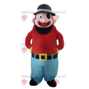 Maskot vousatý a usměvavý muž s páskou přes oko - Redbrokoly.com