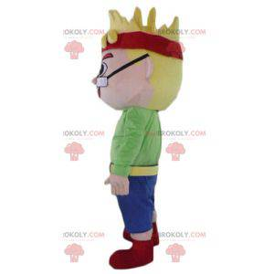 Blond boy man mascot with glasses and a headband -