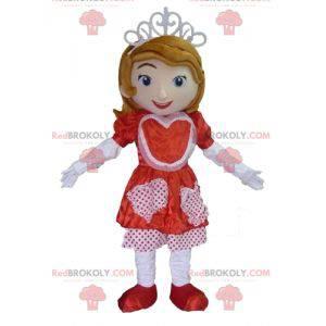 Principessa mascotte con un vestito rosso e bianco -