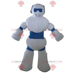 Obří bílý a modrý robot maskot - Redbrokoly.com