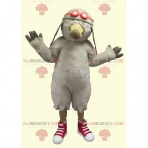 Maskot pták Racek s přilbou letec - Redbrokoly.com