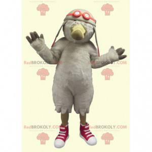 Seagull bird mascot with an aviator helmet - Redbrokoly.com