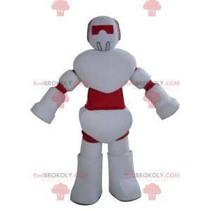 Reusachtige witte en rode robotmascotte - Redbrokoly.com