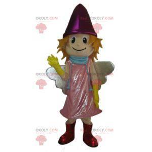 Kleines lächelndes Feenmaskottchen mit einem rosa Kleid -