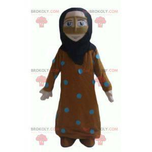 Mascote oriental de mulher com véu vestida de laranja e azul -