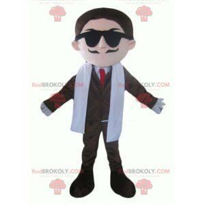 Mustached forretningsmann maskot i dress og slips -