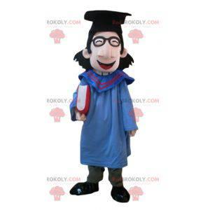 Maskot studenta s pláštěm a čepicí pro absolventy -