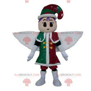 Leprechaun fairy mascot in red green and white outfit -