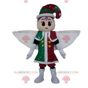 Leprechaun Fairy mascotte in rood, groen en wit outfit -