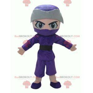 Chlapec ninja maskot v fialové a šedé oblečení - Redbrokoly.com