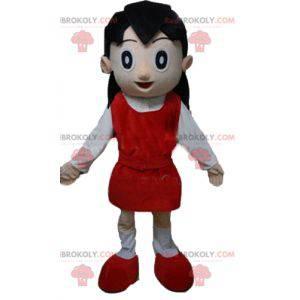 Maskotka dziewczyna w czerwono-białym stroju - Redbrokoly.com