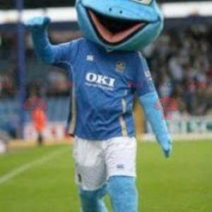 Blå froskmaskot i sportsklær - Redbrokoly.com