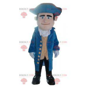 Vintage soldier mascot in blue and yellow outfit -