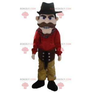 Cowboy mascot dressed in red and yellow with a hat -