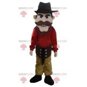 Kovboj maskot oblečený v červené a žluté s kloboukem -
