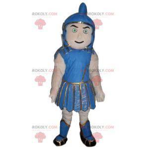 Gladiator Maskottchen in traditioneller blauer Kleidung -
