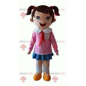 Velmi usměvavý malý maskot školačka - Redbrokoly.com