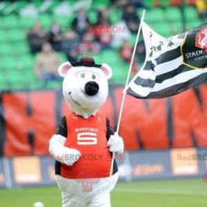 Biała mysz maskotka w odzieży sportowej - Redbrokoly.com