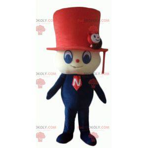 Snowman mascot with a red top hat - Redbrokoly.com