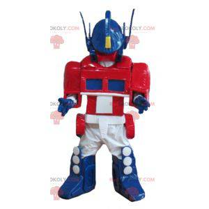 Transformátor robot maskot modrá bílá a červená - Redbrokoly.com