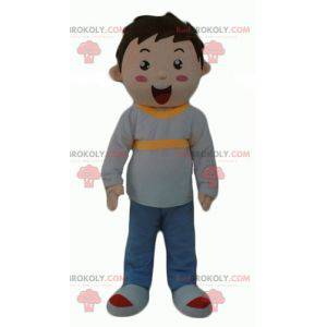 Little boy mascot dressed in gray blue and yellow -