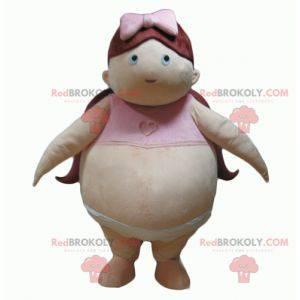 Fat baby obese girl mascot - Redbrokoly.com