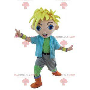 Blond boy mascot young teenager in colorful outfit -