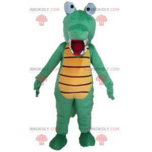 Very funny and colorful green and yellow crocodile mascot -