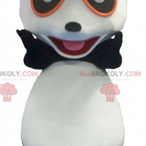 Svart og hvit panda maskot med briller - Redbrokoly.com