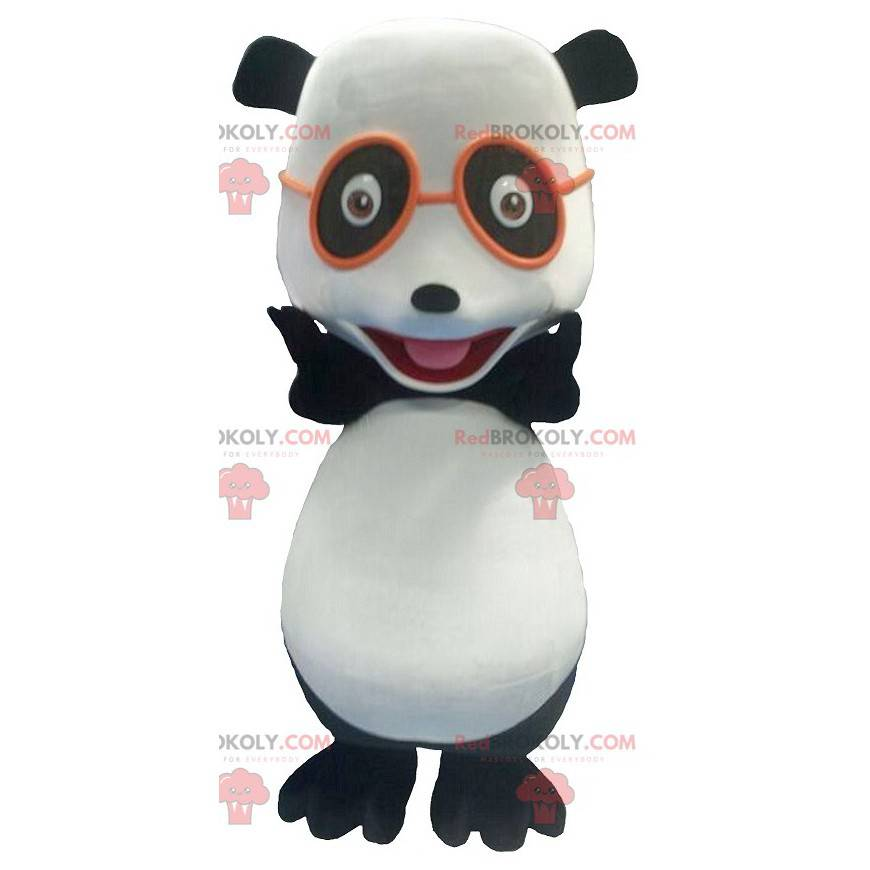 Black and white panda mascot with glasses - Redbrokoly.com