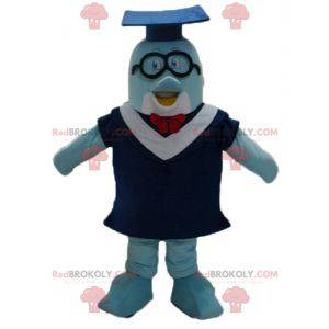 Mascotte delfino blu con un abito e un berretto da studente -