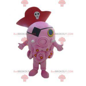 Obří růžový maskot chobotnice s pirátským kloboukem -