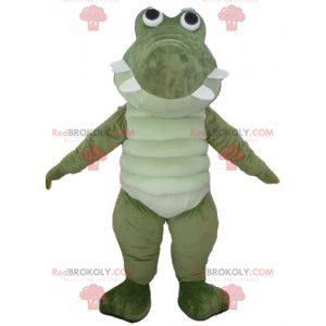 Velmi úspěšný a zábavný velký zelený a bílý krokodýlí maskot -