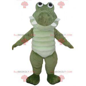 Very successful and funny large green and white crocodile