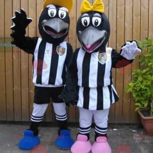 2 mascots of black crows in sportswear - Redbrokoly.com