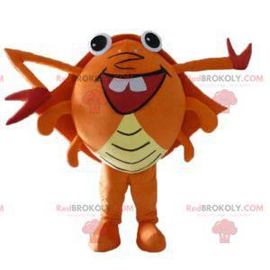 Mascote caranguejo gigante vermelho e amarelo alaranjado muito